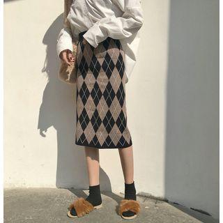 Argyle Midi Knit Skirt