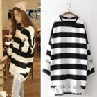 3/4-sleeve Striped Oversized Top