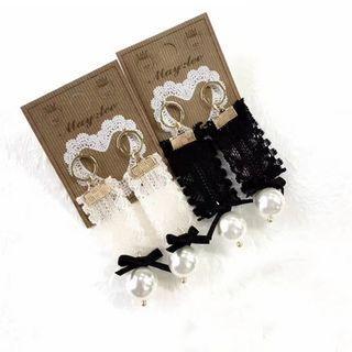 Lace Faux-pearl Drop Earrings