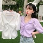 Short-sleeve Embellished Blouse