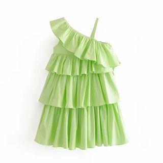 Sleeveless Frill Trim Tiered A-line Mini Dress