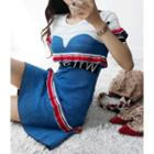 Letter Print Color-block Knit Dress Blue - One Size