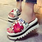 Embroidered Platform Slide Sandals
