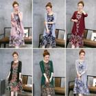 Set: Printed Sleeveless A-line Midi Dress + 3/4-sleeve Light Jacket