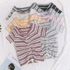 Lightweight Drawstring-front Striped Knit Top