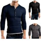 Long-sleeve Plain Henley Shirt