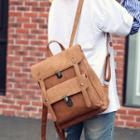 Buckled Faux-leather Square Backpack