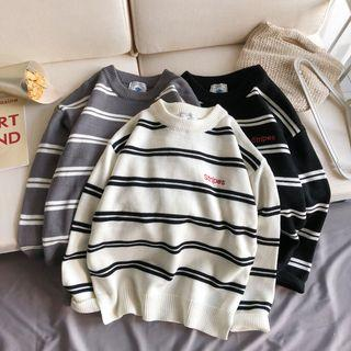 Embroidered Stripe Knit Top