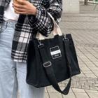 Lettering Canvas Tote Bag With Shoulder Bag