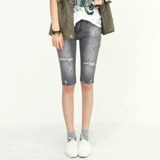 Distressed Washed Cropped Jeans