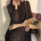 Floral Print Tiered Midi Chiffon Dress