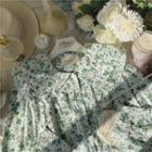 Floral Blouse Floral Print - Green - One Size