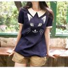 Short-sleeve Embroidery Cat Top