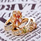 Rhinestone & Copper Flower Layered Ring