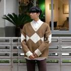 Oversized Argyle Pattern Sweater