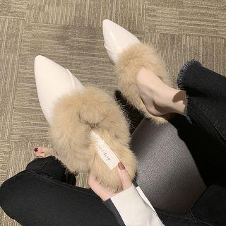 Furry Trim Pointy-toe Mules