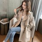 Double-breasted Drawstring Long Trench Coat