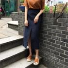 Slit-front Linen Maxi Skirt