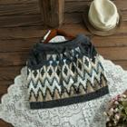 Patterned Mini Knit Skirt Gray - One Size