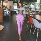 Seam-front Colored Dress Pants