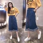 Fringed Midi A-line Denim Skirt