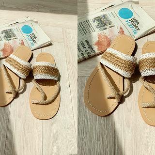 Braided Rattan Flip-flops