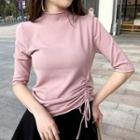 Elbow-sleeve Mock Neck Drawstring Knit Top