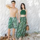 Couple Matching Print Swim Shorts / Cover-up / Tankini Top / Set