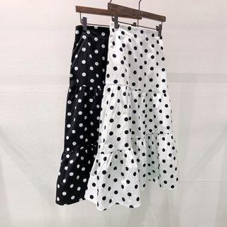 High-waist Polka-dot Mermaid Midi Skirt