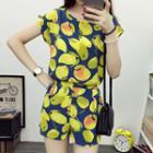 Set: Print Short-sleeve Chiffon Top + Shorts
