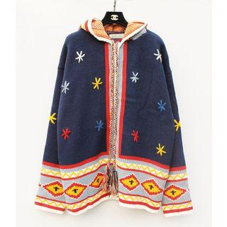 Patterned Hooded Cardigan