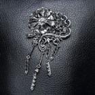 Rhinestone Flower Fringed Brooch