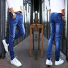 Slim-fit Stitched Washed Jeans