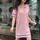 Polo-neck Color-block Knit Dress