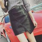 Faux Leather Fitted Skirt
