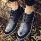 Lace-up Genuine Leather Brogue Boots