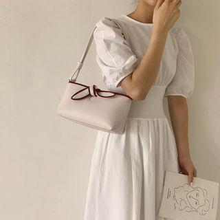 Faux Leather Bow Shoulder Bag