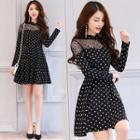 Lace Panel Dotted Long Sleeve A-line Dress