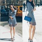 Pattern V-neck Long-sleeve Slim-fit Dress