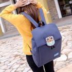 Owl-applique Nylon Backpack