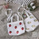 Strawberry Print Canvas Tote Bag / Apple Print Canvas Tote Bag