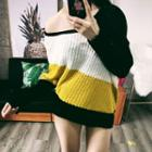 Asymmetric Color Block Sweater