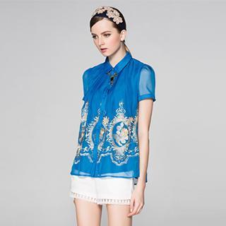 Short-sleeve Embroidered Blouse