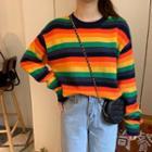 Striped Crew-neck Sweater Multicolor - One Size