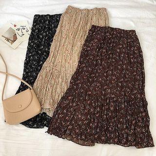 Floral Chiffon High-waist A-line Skirt