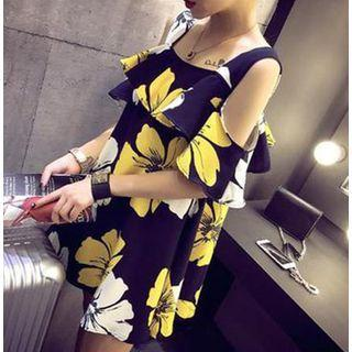 Elbow-sleeve Cold Shoulder Floral Print Mini A-line Dress As Shown In Figure - One Size