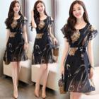 Short-sleeve Floral Print A-line Chiffon Dress