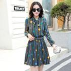 Long-sleeve Dotted Patterned Dress