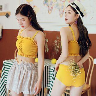 Set: Ruffle Trim Lace-up Tankini + Glitter Skirt