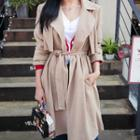 Flap-detail Open-front Trench Coat With Sash